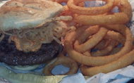 Beefalo Burger with Pimento Cheese and Tobasco Onions